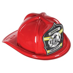 Red Firefighter Volunteer Hat (Gray Shield)