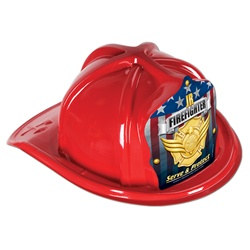 Red Junior Firefighter Hat (Gold Serve and Protect Shield)