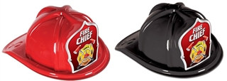 Fire Chief Hat with Silver and Red Shield (Choose Color)