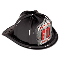 Black Junior Firefighter Hat (FD Silver Shield)