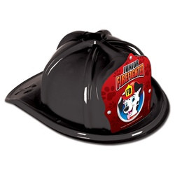 Junior Black Firefighter Hat (Dalmatian Red Shield)