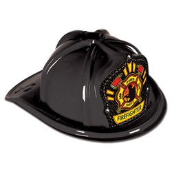 Black Plastic Firefighter Hat (Firefighter Shield)