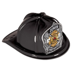 Black Junior Firefighter Hat (Silver FD Shield)