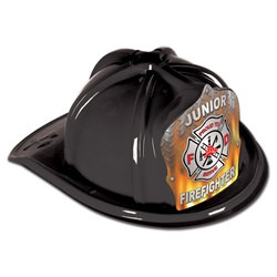 Black Junior Firefighter Hat (Flame Shield)