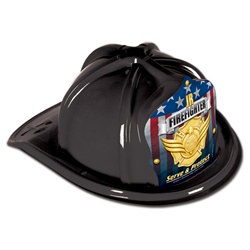 Black Junior Firefighter Hat (Gold and Protect Shield)