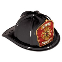 Black Junior Firefighter Hat (Red and Gold Shield)