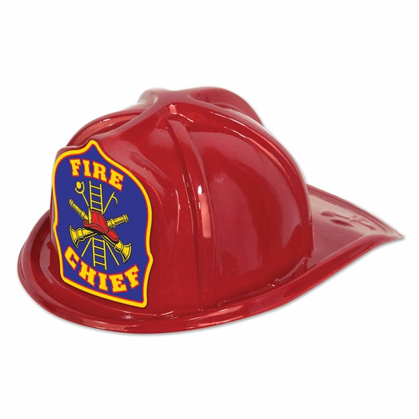 Red Plastic Fire Chief Hat Partycheap