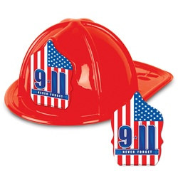 9/11 Red Plastic Fire Chief Hat