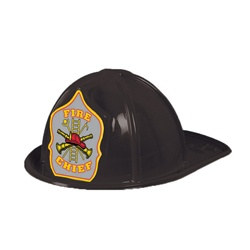 Black Plastic Fire Chief Hat (Silver Shield)