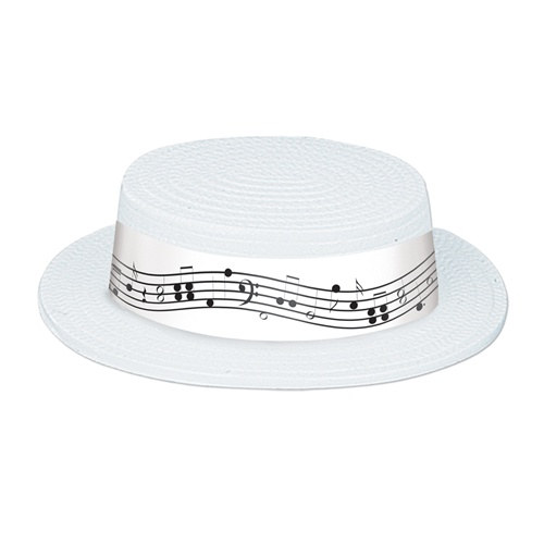 White Plastic Skimmer With Music Note Band PartyCheap