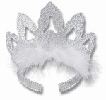 Silver Glittered and Feathered Coronet Tiara