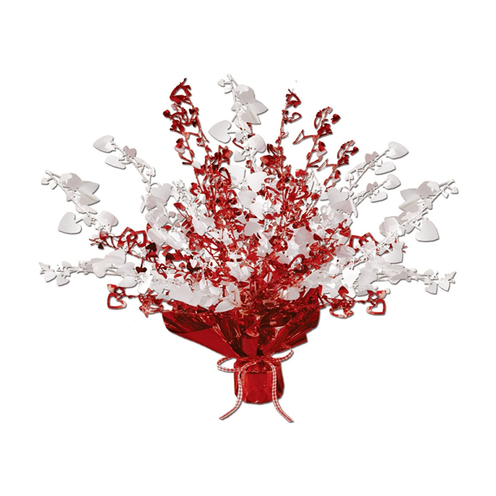 Red and white heart gleam n burst centerpiece partycheap
