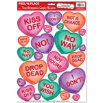 Non-Romantic Candy Heart Peel N Place (23/sheet)