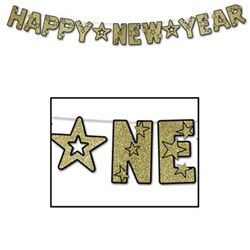 Black and Gold Glittered Happy New Year Streamer