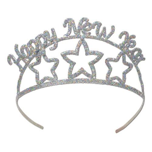 Glittered Happy New Year Tiara - PartyCheap