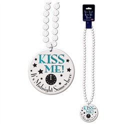 Kiss Me! It's Midnight Somewhere White Medallion with Beads (1/Pkg)