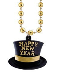 Gold New Year Beads with Top Hat Medallion (1/pkg)
