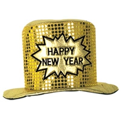 Gold Glitz N Gleam Happy New Year Top Hat