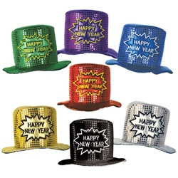 Glitz N Gleam Happy New Year Top Hat (Assorted Colors)