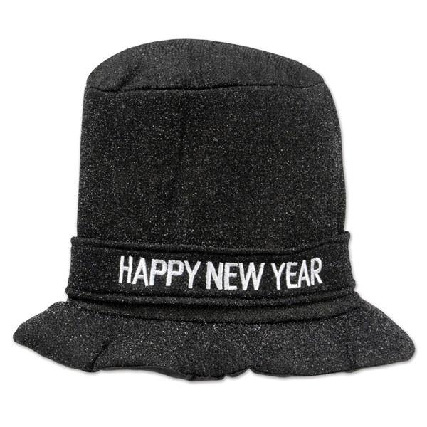 Black Glitz N Sparkle Happy New Year Top Hat - PartyCheap