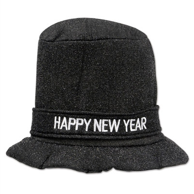 Black Glitz N Sparkle Happy New Year Top Hat