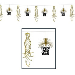 Black and Gold New Year Shimmer Garland, 10 Foot