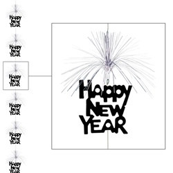 Black and Silver Happy New Year Firework Stringer