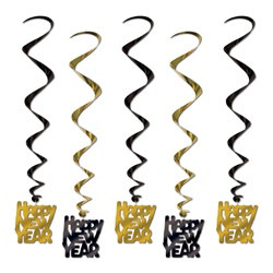 Black and Gold Happy New Year Whirls (5/pkg)