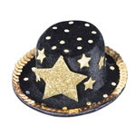 Black and Gold Star Top Hat Hair Clip