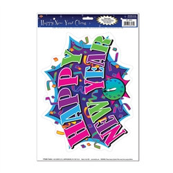 Multi-Color Happy New Year Cling (1 Cling Per Sheet)