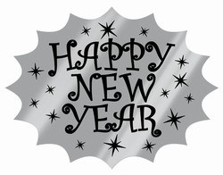 Black and Silver Foil Happy New Year Cutout