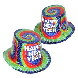 Tie-Dyed New Year Hi-Hats (sold 25 per box)