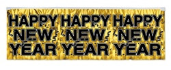 Gold Metallic Happy New Year Banner
