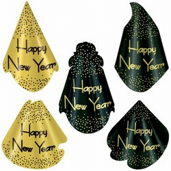 Sparkling Black and Gold New Year Hats (sold 50 per box)