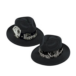 Black and Silver Casino Silver New Year Fedora (1/pkg)