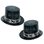 Silver New Year Star Top Hat Party Pack of 25