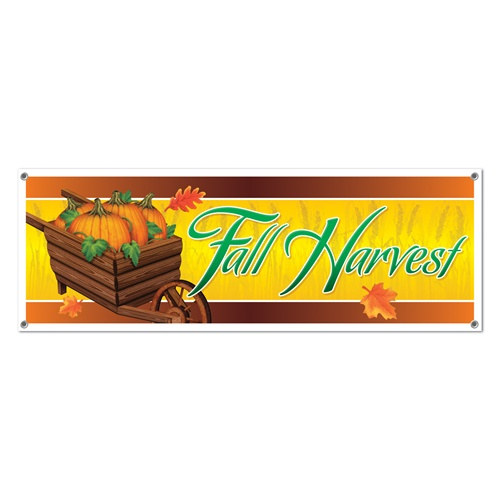 Fall Harvest Sign Banner - PartyCheap