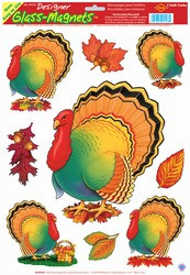 Thanksgiving Turkey Window Clings (9/sheet)