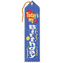 Blue Today's My Birthday Ribbon