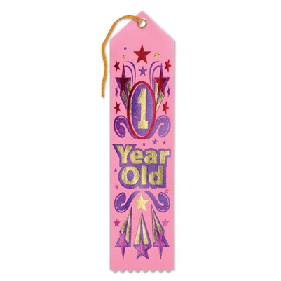 Pink 1 Year Old Award Ribbon