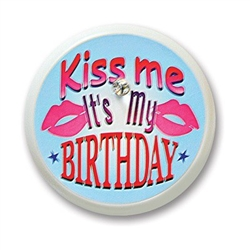 Kiss Me, It's My Birthday Blinking Button