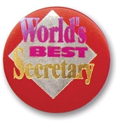 World's Best Secretary Satin Button