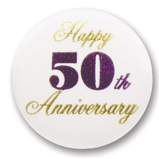 Happy 50th Anniversary Satin Button