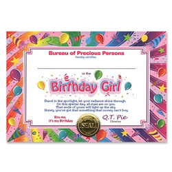 Birthday Girl Award Certificates (6 Certificates/Pkg)