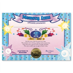 One Year Old Boy Award Certificates (6 Certificates/Pkg)