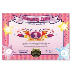 One Year Old Girl Award Certificates (6 Certificates/Pkg)