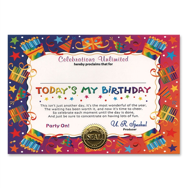 Today's My Birthday Award Certificates (6 Certificates/Pkg)
