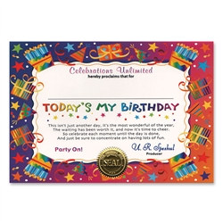 Today's My Birthday Award Certificates