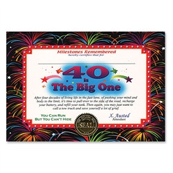 40 Is The Big One Award Certificates (6 Certificates/Pkg)