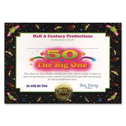50 Is The Big One Award Certificates (6 Certificates/Pkg)